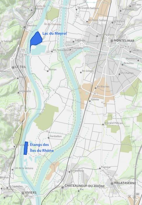 carte du Lac du Meyrol et des Îles du Rhône